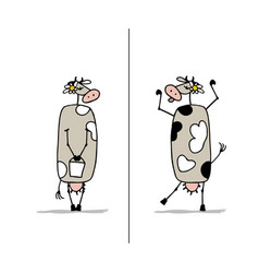 funny cow is dreaming sketch for your design vector image vector image