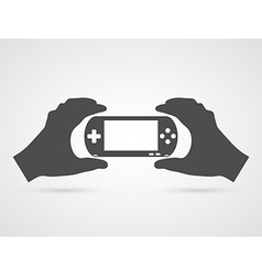 Game console in hands gamepad flat icon vector
