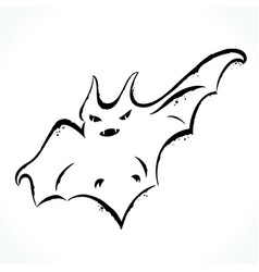 hand drawn bat isolated on white background vector image vector image