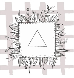 Hand drawn black ink nature frame with leaf vector