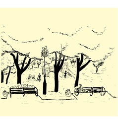 Hand drawn sketch of the city park with trees benc vector image