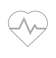 Heartbeat sign black dashed vector