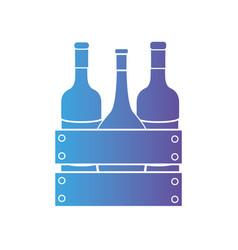 Line wine bottles inside wood box design vector