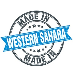 Made in western sahara blue round vintage stamp vector