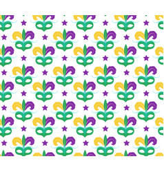 mardi gras seamless pattern with carnival mask vector image