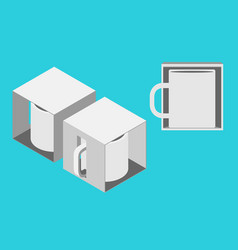Mug in a box mockup vector