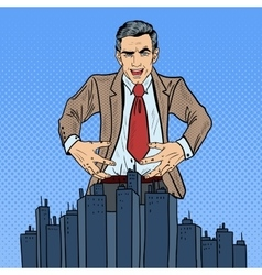 Pop art businessman wants to seize the city vector
