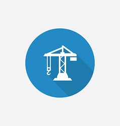 Printbuilding crane flat blue simple icon with vector