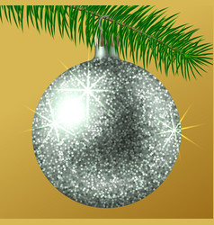 realistic silver christmas ball or bauble with vector image