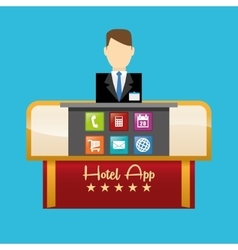 Receptionist of hotel and digital apps design vector