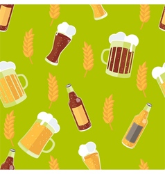 Seamless pattern with flat icons of beer vector