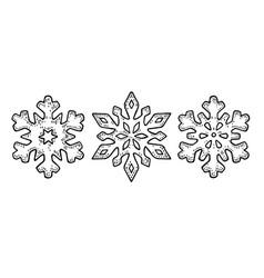 set snowflakes vintage black engraving vector image vector image