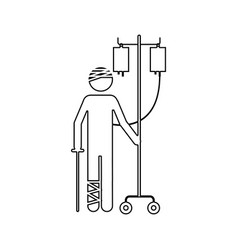 Silhouette pictogram bandage patient hospitalized vector