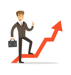 successful businessman standing on success graph vector image