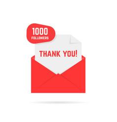 1000 followers thank you card vector