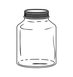 Silhouette glass wide container with lid vector