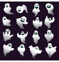 Cartoon spooky ghost character collection spooky vector