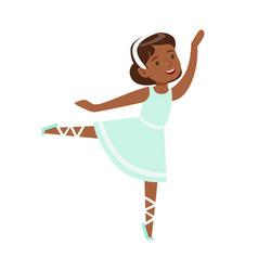 Little girl in blue dress dancing ballet in vector