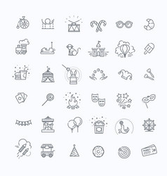 Amusement park sings set thin line art icons vector