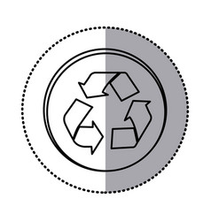 monochrome contour with circle sticker of vector image