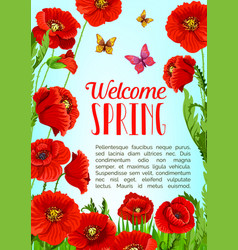Poster of flowers and welcome spring quotes vector