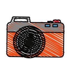 Color crayon stripe analog camera with flash vector