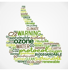 Go green words cloud about ecology in hand vector