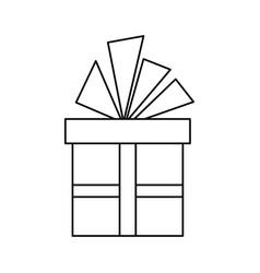 Christmas gift box with ribbon bow vector