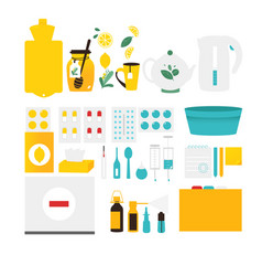 Flu cold influenza treatment objects elements vector