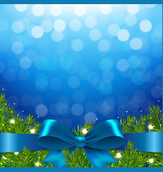 blue xmas background with bow vector image