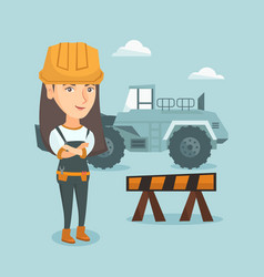 Young caucasian builder with arms crossed vector