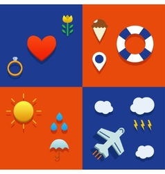 Infografic icon set with love weather flying and vector