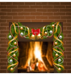 Fireplace and christmas garland vector