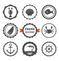 Set of seafood labels seafood logos and design vector