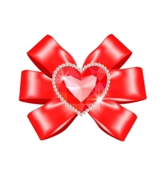 Red bow with heart ruby vector