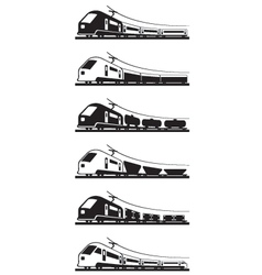 Passenger and freight trains vector