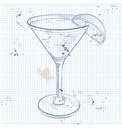 The bacardi cocktail on a notebook page vector