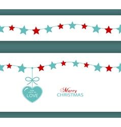 Christmas star border with heart vector