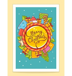 Red and yellow christmas items around wor vector