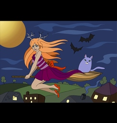 Witch flying on a broomstick background vector