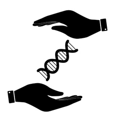 The dna in hand icon vector
