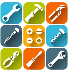 Repair tools white icons set vector