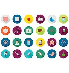 Medicine round icons set vector