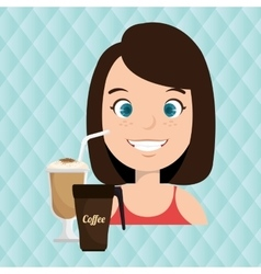 Persons and coffee isolated icon design vector