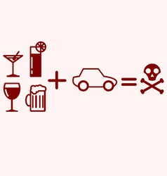 Alcohol plus driving equals danger vector
