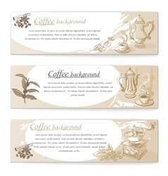 Banner set of vintage coffee backgrounds vector image vector image