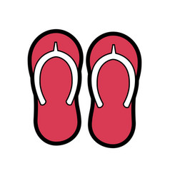 beach pair flip flops accessories icon vector image