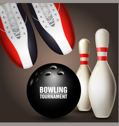 Bowling shoes skittles and ball - bowling vector