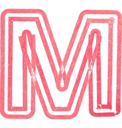 Capital letter m drawing with red marker vector