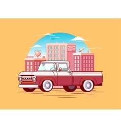 Colorful pickup car template vector